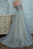 Off the Shoulder A Line Tulle Prom Dress For Women Long Party Dress OKW10