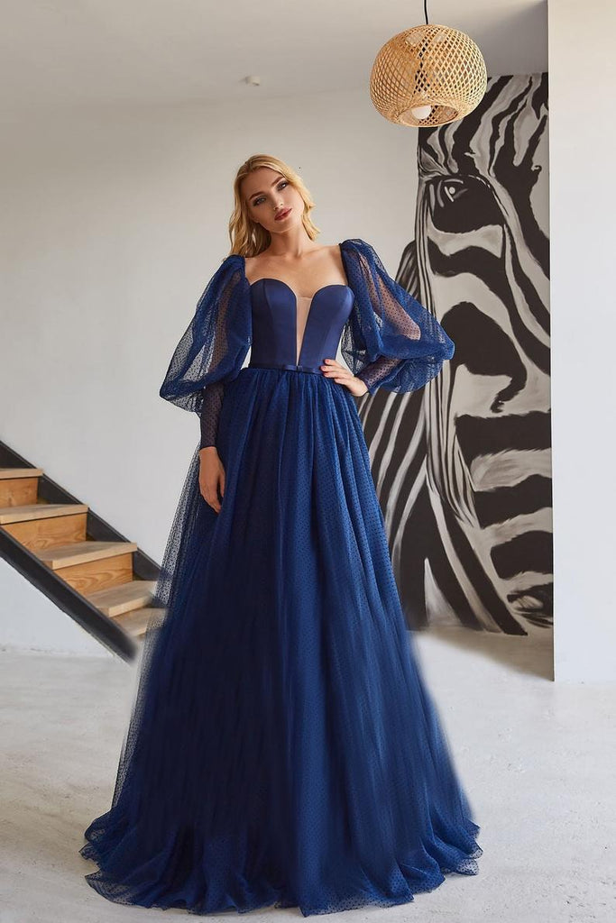 Elegant A Line Tulle Princess Simple Prom Dress, Long Dark Blue Evening Dress OKV79