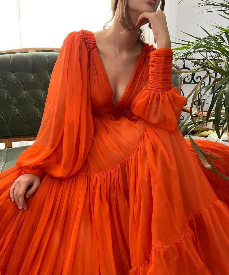 Long Sleeves A Line Deep V Neck Orange Simple Prom Dress Maxi Dress OKV98