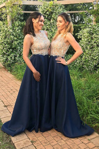 Navy Blue Prom Dresses,Long Prom Gown,Beaded Evening Dress,A Line Bridesmaid Dress,Cheap Bridesmaid Dress