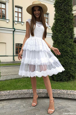 A Line White Lace Homecoming Dresses, Beautiful Short Prom Dresses OKM72