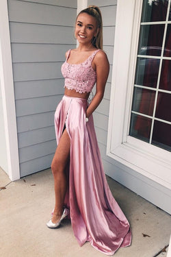 Two Piece Square A Line Pink Split Long Prom Dress with Lace Pockets OKI72