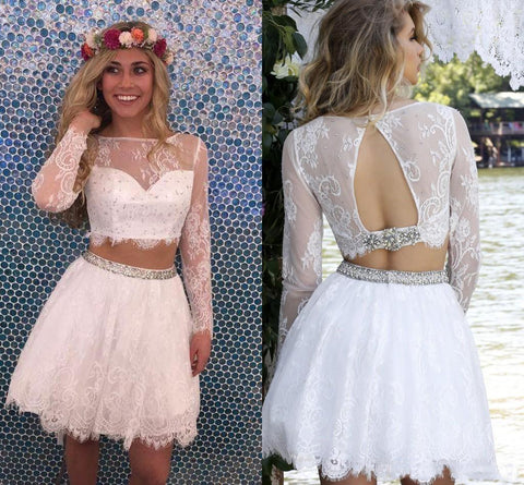 Two Piece Lace Short Long Sleeve Beading Open Back Homecoming Dress OKC19