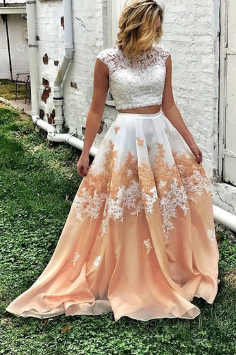 Pretty Two Piece Cap Sleeves A Line Lace Appliques Prom Dresses OKG39