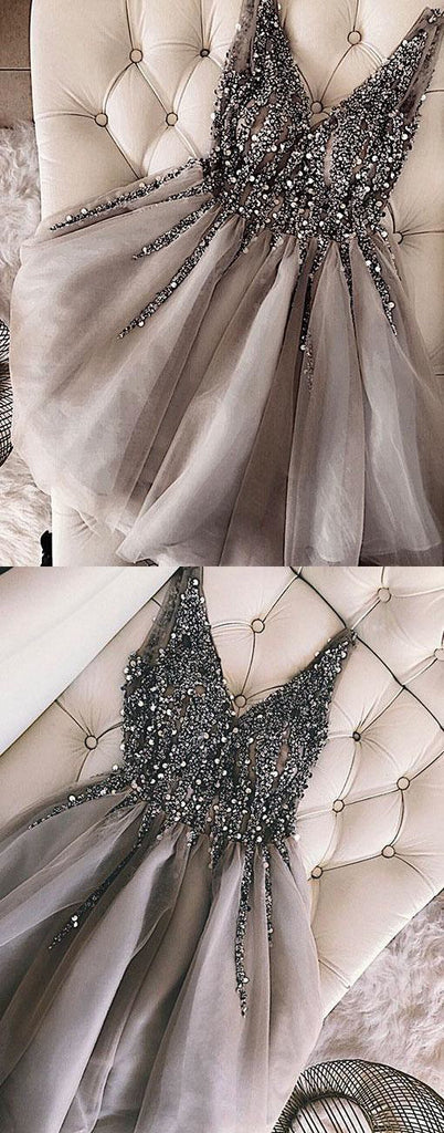 Luxurious Sequins Beaded V-neck Tulle Short Gray Homecoming Dresses OKB90
