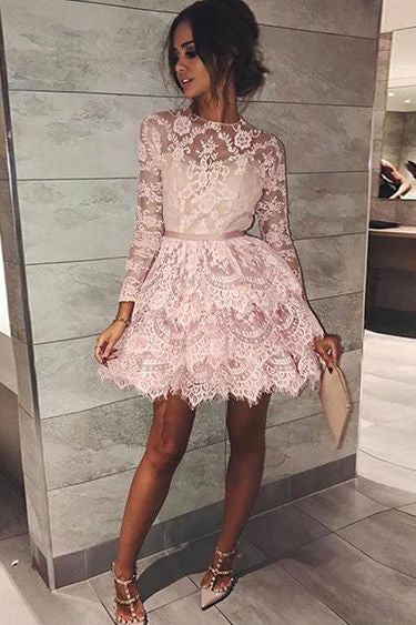 Pink A Line Short Long Sleeves Lace Mini Homecoming Dress OKB34