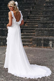 Simple White V-neck Chiffon Ruffles Sleeveless Wedding Dress Bridal Gowns OK596