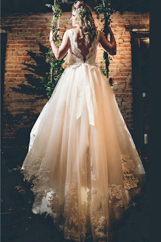 Elegant Off White Lace Appliques A-line Chapel Train Wedding Dresses with Sash OKB05