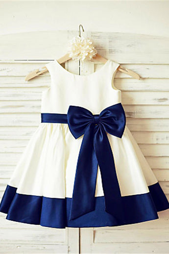 Tea-Length Flower Girl Dress,Satin Flower Girl Dresses,Flower Girl Dress With Sash
