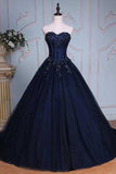Long Prom Dress,Navy Blue Prom Dresses,Ball Gown Evening Dress,Sweetheart Prom Dresses,Appliques Prom Gown,Ball Gown Prom Dresses