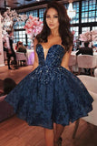 Unique A-Line Sweetheart Dark Blue Lace Short Homecoming Dress with Beading OKA90