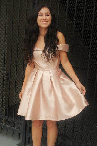8b41e4c4e4d Pink Homecoming Dress. Pink Homecoming Dress; Simple A-line Off Shoulder  Satin Rushed Short Pearl Pink Homecoming Dresses ...