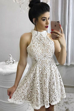 A-Line Lace Short Homecoming Dress, Sweet 16 Dresses OKM17