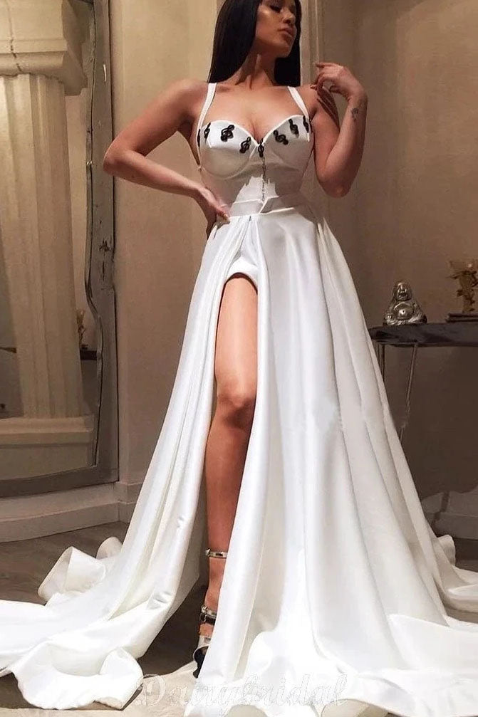 A-line Straps White Long Prom Dress With Slit Cheap Evening Dress OKT13