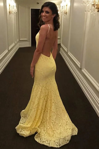 Stunning Mermaid Spaghetti Straps Lace Yellow Long Prom Dress Evening Dress OKT20