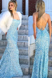 Mermaid Sky Blue Sequins Long Prom Dress Cheap Evening Dresses OKR57