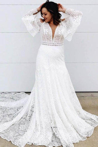 Elegant A Line Lace Long Sleeves V Neck Wedding Dress OKT57