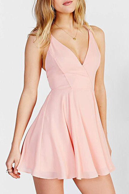 Lovely Homecoming Dresses,A line Homecoming Dress,Pink Prom Dresses,V Neck Prom Dress,Short Prom Dress,Simple Homecoming Dresses,Short Homecoming Dress,Open Back Prom Dress,Prom Party Dress
