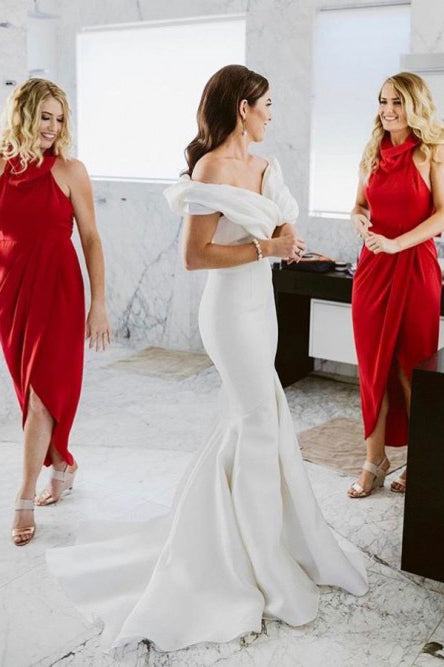 Sheath Cowl Neck Hi-Low Red Simple Bridesmaid Dress with Ruched OKR87