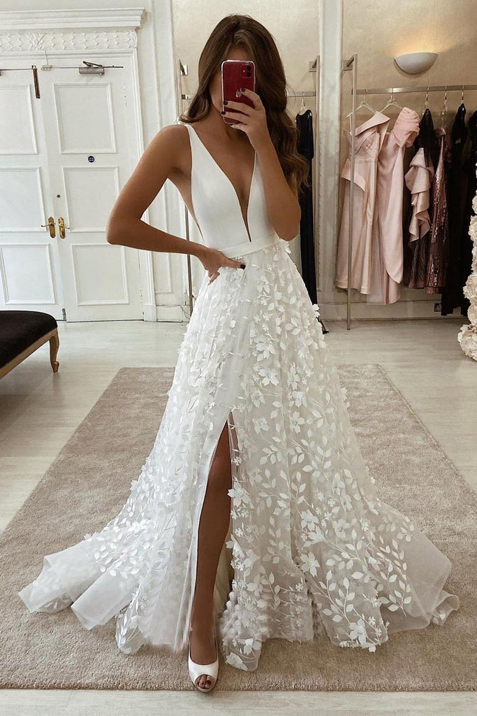 Ivory Floral Lace Plunging Sleeveless High Slit A line Wedding Dress OKU88