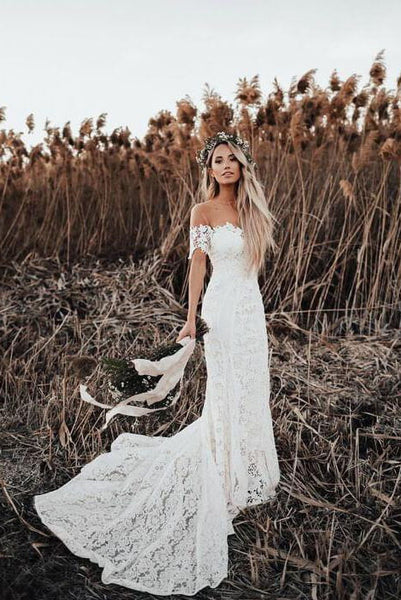 New Arrival Ivory Mermaid Lace Off the Shoulder Beach Wedding Dress OKF85