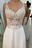 Ivory Chiffon See Through A Line V Neck Prom Dresses With Beading OKS83