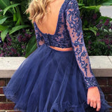 Two Piece Bateau Long Sleeves Dark Blue A Line Tulle Homecoming Dress OKB79