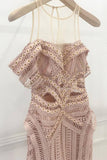 Beautiful A-Line Short Sleeves Asymmetry Pink Lace Prom Dress OKB49