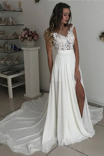 Chiffon Cap Sleeves Split Wedding Dresses