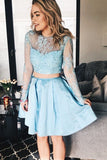 Two Pieces Long Sleeves Sky Blue A Line Short Homecoming Dress OKA94