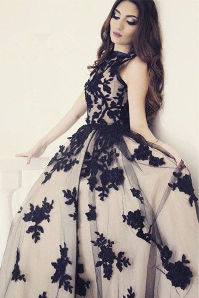 Appliques A-Line Round Neck Black Lace Long Prom Dress OK128