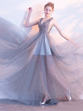 Elegant A Line Sequin Tulle Long V Neck Sleeveless Prom Dresses OKC2