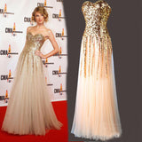 Sweetheart A Line Gold Sequin Tulle Long Sleeveless Prom Dresses OKC3