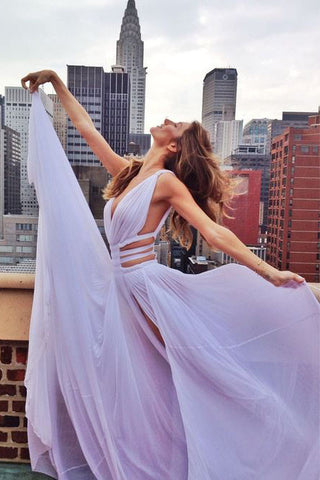 Light Lavender Chiffon Front Split Long Deep V Neck Off Shoulder A Line Sexy Prom Dress OK187