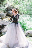 Charming  Prom Dress,Black Lace Prom Dresses,Puffy Prom Dresses,Long Sleeve Wedding Dresses,Tulle Wedding Dress