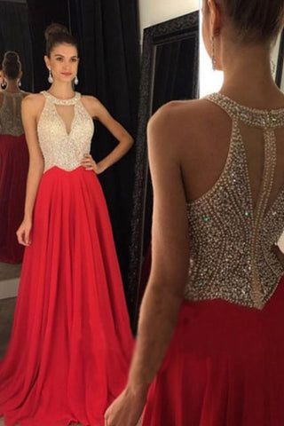 Hot Sales Champagne Tulle Red Skirt Prom Dresses,High Neck Heavy Beads Bodice Long Prom Dress,Deep V Neck Evening Prom Gowns,Fashion Women Dresses,Custom Made Evening Dresses,Mother of the Bridal Dress