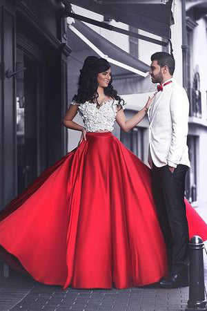 White Lace Top Prom Dresses,Red Prom Dress,Satin Prom Dresses,Two Piece Prom Dress