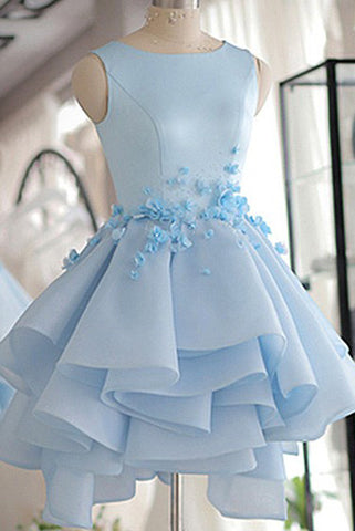 A-line Homecoming Dresses,Scoop Neck Prom Dress,Satin Homecoming Dresses,Short/Mini Prom Dresses,Flower Homecoming Dress