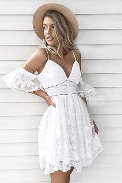 A-Line Spaghetti Straps Short White Lace Homecoming Dress OKM7