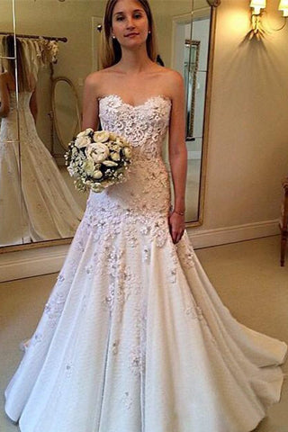 Charming Sweetheart Sweep Train A Line Long Wedding Dress with Lace Appliques OKB10