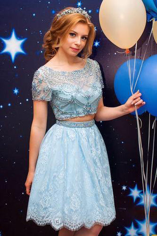 Light Blue Two Pieces A Line Lace Short Sleeves Short Prom Dress With Beads OKB77