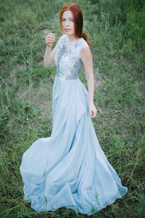 Long Prom Dress,Light Blue Prom Dresses,Chiffon Prom Dress,A Line Prom Dress,Appliques Prom Dresses