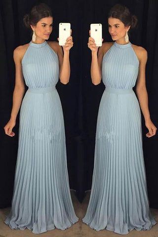 Gorgeous Prom Dresses,High Neck Prom Dress,Halter Prom Dresses,Chiffon Prom Dress,Blue Prom Dress