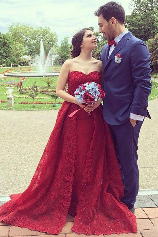 A Line Wedding Dresses,Red Wedding Dress,Lace Wedding Dresses,Sweetheart Prom Dress,2018 Prom Dress