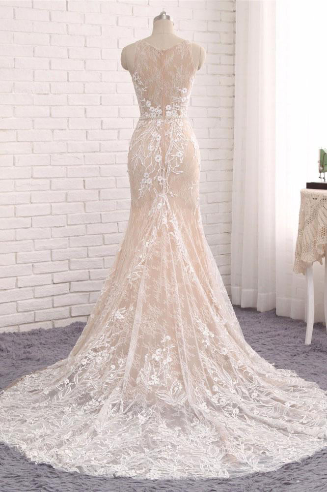 Unique Mermaid White Sleeveless Prom Dress,Lace Long Sweep Train Wedding Dress OK636