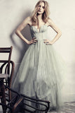 Modest Prom Dress,Gray prom dress,A-line prom dress,Sweetheart Prom Gown,Tulle prom dress