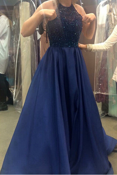 Royal Blue Beading Princess Ball Gown Prom Dress,2017 Sexy