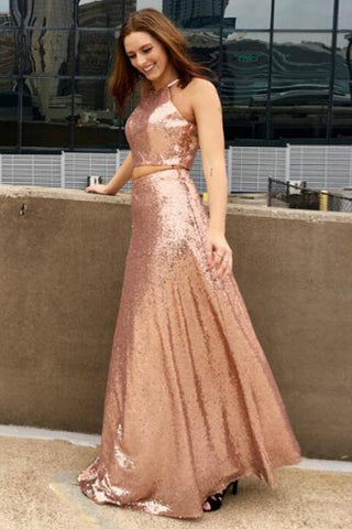 Two Piece Prom Dresses,Sequined Prom Gown,Long Prom Dress,New Arrival Prom Dress