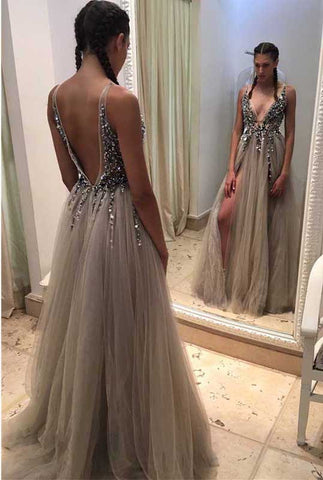 Backless Rhinestone tulle Deep V-neck Sexy prom dress online, Long Split Prom Dress OK157