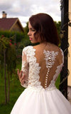 Princess A-Line V-Neck Tulle Ivory Long Sleeves Ball Gown Wedding Dresses OK778